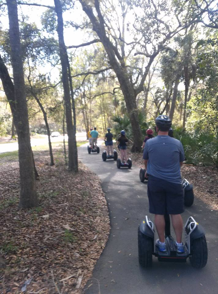 A Segway tour rides down pathways on the island. Photo provided by Segway of Hilton Head.