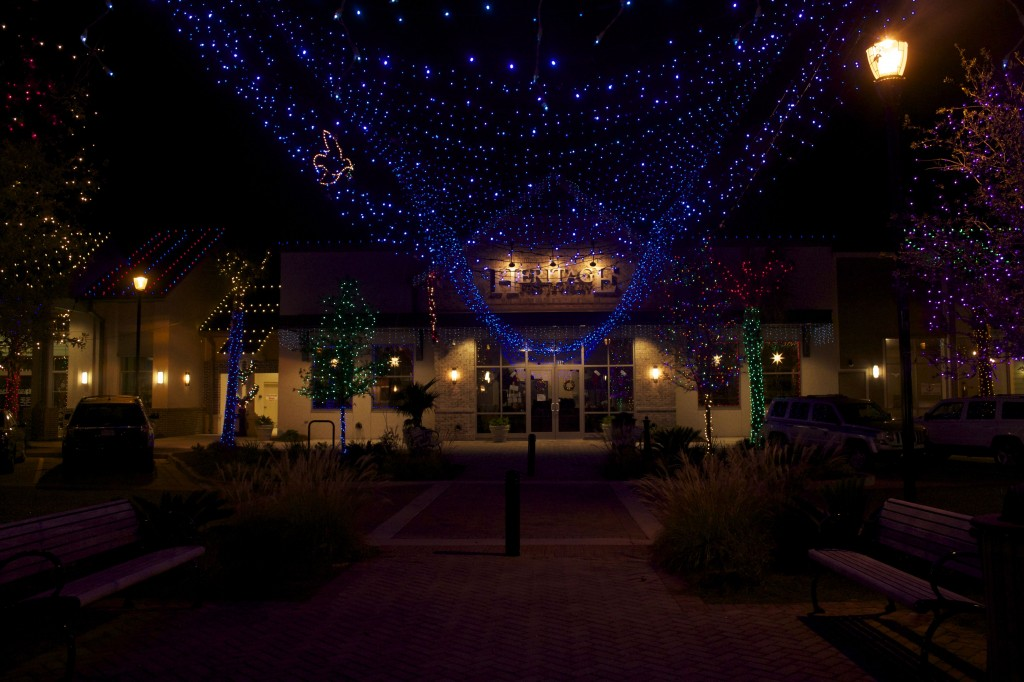 Visitors can shop under the canopy of lights at Shelter Cove Towne Centre