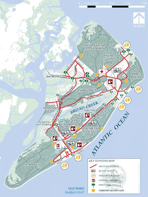 Hilton Head Island South Carolina Map.Hilton Head Island Recreational Pathways Guide