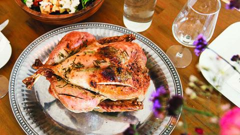 roast chicken with wine glass