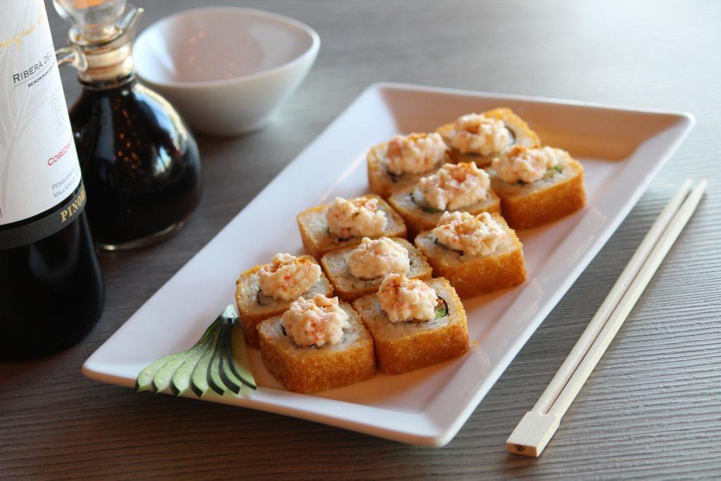 wine and sushi