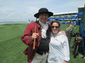 Sir Willie poses with Erica Sullivan at the Opening Ceremonies of the 2014 RBC Heritage Presented by Boeing.