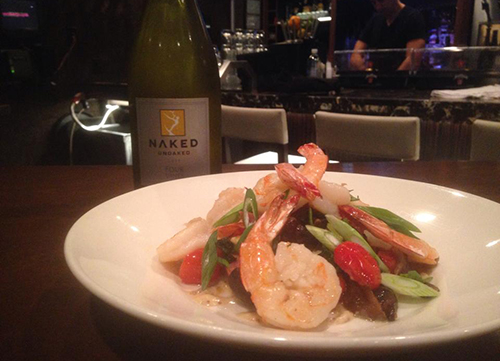 wine and shrimp